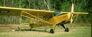 Auster AOP Mk VI:: Taylorcraft Auster 6 in Canada, very similar to my Mk V Auster, but this one has a much larger Gipsy Major engine and the Junkers style displaced wing flaps. Note the tiny propeller on the front of the wing, which spins in the wind and turns the electrical generator!